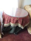 Wooden Side Table Round w/ Glass Top w/ Elephant Pattern Cover
