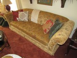 Upholstered Scroll/Floral Pattern Long Couch w/ Curled Arms Wood Feet