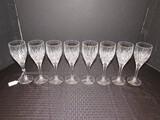 8 Clear Crystal Wine Glasses Fan/Leaf Cut Pattern