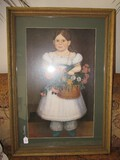 Young Girl w/ Flowers Bouquet in Ribbed Gilded Wooden Frame/Matt