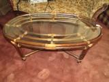 Wooden/Wicker Oval Coffee Table Glass Top w/ Cross Stretcher