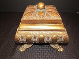 Antique Gilded Patina Oval/Sheaf Pattern Trinket Ceramic Box w/ Raised Claw/Paw Feet