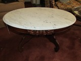 White Marble Oval Top Wood Base Side Table Floral Carved Trim, Scroll Feet