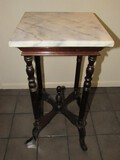 White Marble Top Square Side Table w/ Wooden Spindle/Column Legs to Curved Feet