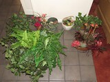 Lot - Misc. Planters w/ Faux Plants, Brass, Ceramic, Wicker, Etc.