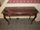 Long Wooden Entry Table 3 Faux Drawers, Brass Batwing Pulls, Curved to Pad Feet