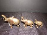 3 Brass African Elephants w/ Floral Pattern Sides