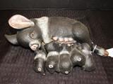 Black/White Pig w/ Piglets Shelf Décor Ceramic 11