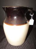 Tall White/Brown Glazed Ceramic Pitcher