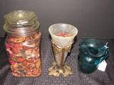 Tall Jar w/ Pot Pourri, Crackle Glass w/ Pot Pourri on Brass Stand, Blue Glass Pitcher