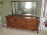 White Fine Furniture Long Dresser 9 Drawers, 2 Doors w/ Back Mirror, Brass Pulls