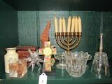 Misc. Lot - Minaran Brass, Glass Bell, Coin Décor, Wooden Glass Stand, Etc.