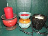 Lot - Red/Brown Votive Candle Holder, Blue/Brown Candle Warmer