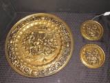 3 Brass Wall Mounted Plates Made in England, 2 w/ Tavern Scene, 1 w/ Beer Garden Scene