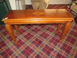 Wooden Long Entry Table w/ Ribbed Legs to Pad Feet, Rope Trim, Diamond/Fan Center Top