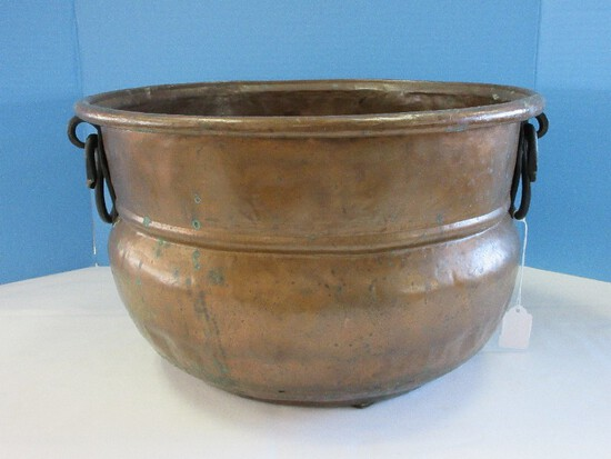 Large Copper Cauldron Kettle w/ Wrought Iron Handles Hammered Finish