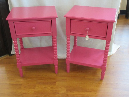 Pair - Hot Pink Accent Tables w/ Glide Drawer & Base Shelf