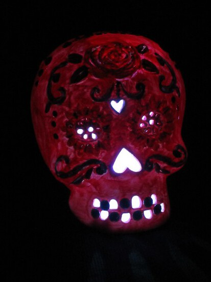 Ceramic Bejeweled Skull Lighted w/ Pierced Design Facial Features