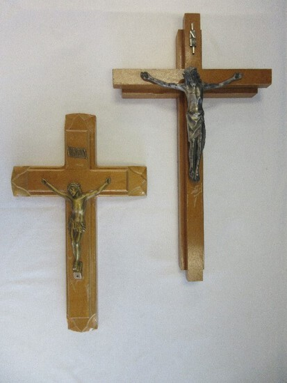 """2 Sick Call Wood Crucifix Sets Silvertone 13"""" x 9"""" w/ Candles & Empty Bottle & Gilded"""