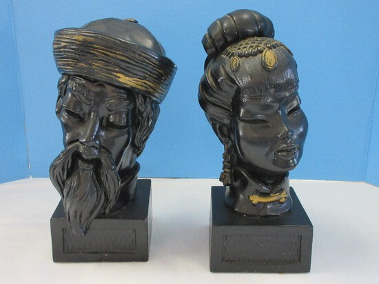 Pair - Universal Statuary Corp. Mid-Century Asian Man & Woman Chalkware Busts Circa 1960's