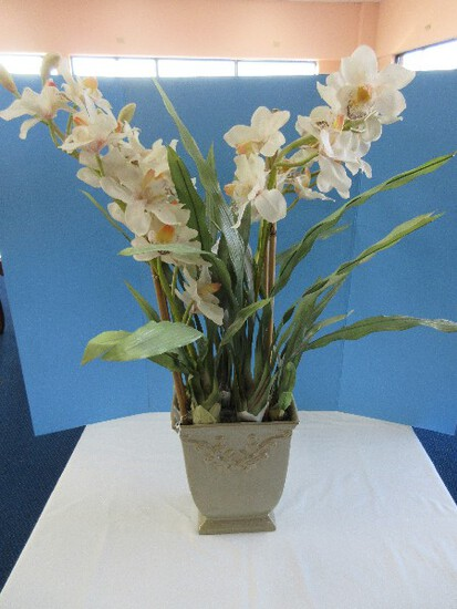Realistic Silk Orchid in Ceramic Planter Relief Scroll Foliage Design Sage Mottled Glaze Finish