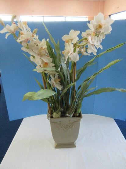 Realistic Silk Orchid in Ceramic Planter Relief Scroll Foliage Design Sage Mottled Glaze Finish