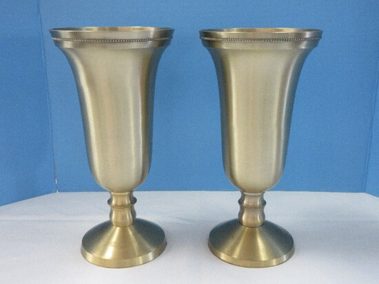 "Pair - Classic Trumpet Flared Rim 12"" Vase Brushed Lacquered Finish & Bead Trim"
