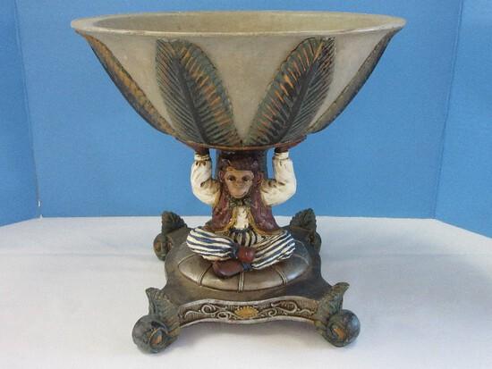 Decorative Resin Monkey & Palm Tree Compote on Plinth Scrolled Foliate Feet