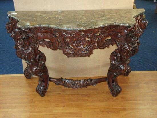 Chinoiserie Phenomenal Heavily Hand Carved Console/Entry Table