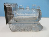 Early Novelties Glass Locomotive Train Engine Candy Container w/ Litho Tin Closure