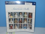 Collectors Classic American Dolls United States Postal Service 15 Stamp Full Sheet