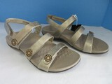 Vionic w/ Orthaheel Technology 44 Cathy Style Gold Triple Strap Sandals