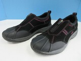 Ryka Water Resistant Suede Sneakers Tennis Shoes w/ Front Zip Black
