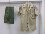 Group - Blue Ridge S.C. Boy Scouts of America Official Uniform w/ Patches Bobcat Flag, Etc.
