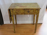 Chic Primitive Farm House Drop Leaf Accent Table w/ Drawer on Tapered Legs Antique Finish