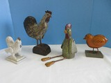 4 Whimsical Rustic Country Rooster, Hen & Biddy 5 1/4