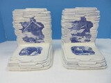 Pair - Vintage Ceramic Holland Mold Bookends Blue/White Stacked Stone Design
