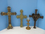 Group - Resin Cross Tealight Stand Antiqued Gilded Patina 9