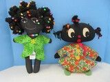 2 Adorable Americana African American Cloth Hand Sewn Dolls Double Face 14 1/2