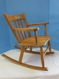 Vintage Maple Slat-Back Musical Rocker Rocking Chair w/ Musician Bunny Rabbit Transfer