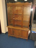 Classic French Provincial Style China Cabinet w/ Gilt Lattice Design Glass on Cabinet Base
