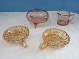 Depression Glass 2 Marigold Carnival Glass Windsor Pattern Geometric Design 5
