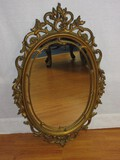 French Regency Neoclassical Style Wall Décor Oval Mirror Syroco Relief
