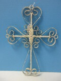 Wrought Iron Spanish Mission Style Wall Accent Cross Scrollwork