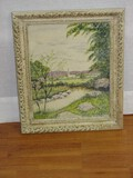 Tranquil Church in The Vale Brook Landscape Scene Original Watercolor