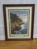 Lighthouse on Cliff w/ Scripture Psalm 27:1 Calligraphy Print