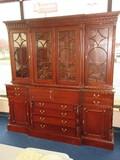 Stately Mahogany English Georgian Style Breakfront Secretary Bookcase