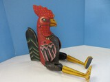 Whimsical Figural Rooster Carved Wooden Hand Painted Hinged Joint Puppet Shelf Décor
