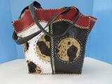Unique Western Leather & Cowhide Patch Design Ladies Fashion Pocketbook Tote Bag