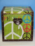 Groovy Peace Symbol & Love Storage Trunk w/ Synthetic Leather Handles & Trim Hinged Lid